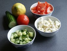Tomato, Cauliflower, And Cucumber Vegetables In Bo Royalty Free Stock Images