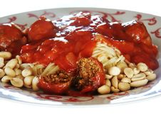 Pasta With Tomato Sauce And Meat Balls Stock Photos