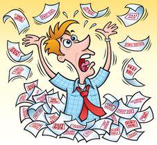 Free Frantic Man In Debt Stock Image - 34971761