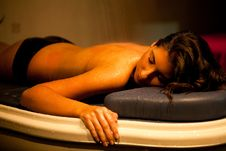 Free Lying Relaxed Woman During Spa Treatment. Royalty Free Stock Photos - 34976998