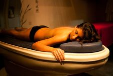 Free Lying Relaxed Woman During Spa Treatment. Royalty Free Stock Image - 34977006