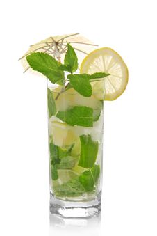 Free Mojito, Is Decorated With An Umbrella Stock Photos - 34977923