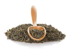 Free Dry Green Tea In The Wooden Spoon Stock Photography - 34977942