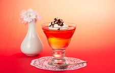 Free Glass With Dessert, Teaspoon And Napkin Stock Photo - 34977950