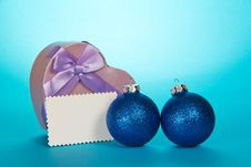 Original Gift Box Heart, Christmas Spheres And Royalty Free Stock Photo