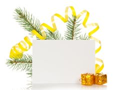 Free Fir Branch With Serpentine, Small Gift Boxes And Royalty Free Stock Photos - 34978008