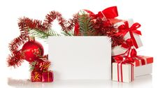Set Of Gift Boxes And Branch A Fir-tree Stock Photos