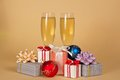 Free Two Wine Glasses With Champagne Royalty Free Stock Photo - 34983625