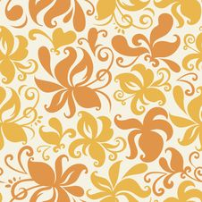 Seamless Colored Pattern With Floral Background