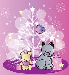 Free New Year Tree With Funny Animals Stock Photography - 34982992