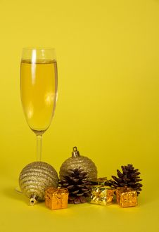 Free Champagne Wine Glass, Small Gift Boxes Royalty Free Stock Image - 34983656