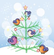 Free New Year Tree With Funny Birds Royalty Free Stock Photography - 34983907