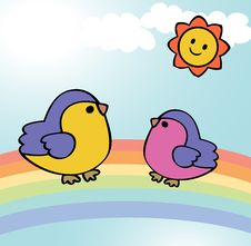 Free Two Funny Birds On Rainbow Stock Photography - 34983952