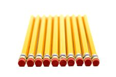 Free Row Of Yellow Pencils With Erasers In Foreground Royalty Free Stock Photo - 34989465