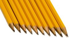 Free Sharpened Pencils Close Up On White Royalty Free Stock Photos - 34989538