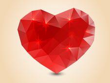 Origami Polygonal Heart. Royalty Free Stock Image