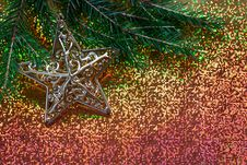 Free Fir Branch Decorated With A Star Royalty Free Stock Image - 34992906