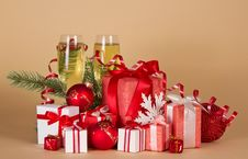 Free Gift Boxes, Christmas Toys, Serpentine And Wine Stock Image - 34995421