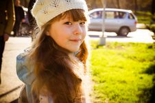 Little Girl In Park In The Autumn Stock Photos