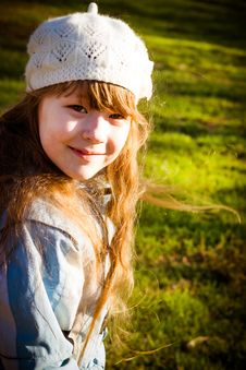 Little Girl In Park In The Autumn Stock Photography