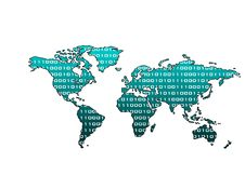 World Map Binary (Blue Metallic) Royalty Free Stock Photography