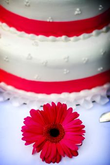 Free White Wedding Cake With Pink Trim Stock Photography - 353162