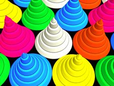 Free 3D-Colorful Cones 2 Royalty Free Stock Image - 355216
