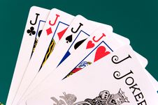 Free Cards Four Cards 09 Jacks Joker Royalty Free Stock Image - 355616