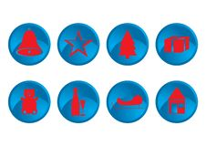 Free Red & Blue Christmas Icons Royalty Free Stock Photo - 3500075