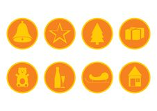 Free Orange Christmas Icons Stock Photo - 3500080