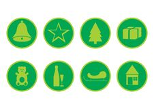Free Green Christmas Icons Stock Photography - 3500112