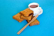 Free Cup Of Coffe And Slices Of Bread With Knife Stock Photo - 3501450