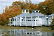 Lakeside Residence In Autumn Royalty Free Stock Photography