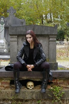 Free Woman In Cemetery Stock Image - 3502771