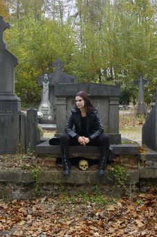 Free Woman In Cemetery Stock Photos - 3502773
