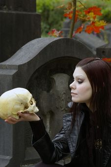 Free Woman In Cemetery Stock Photography - 3502982