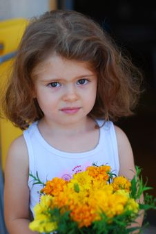 Free Beautiful Girl Yellow Flowers Royalty Free Stock Image - 3503256