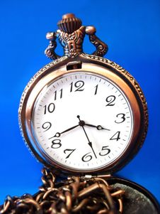 Close-up Of Old Golden Clock Stock Photo