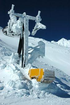 Ski Lift Mast After Snow Fall Royalty Free Stock Photo