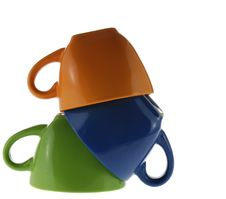 Three Turned Color Cups Stock Photography