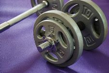 Weights On Yoga Mat Stock Photography