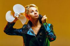 Girl With A Fan Stock Images