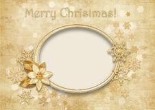 Free Vintage Christmas Background With Golden Decorations Stock Photography - 35005172
