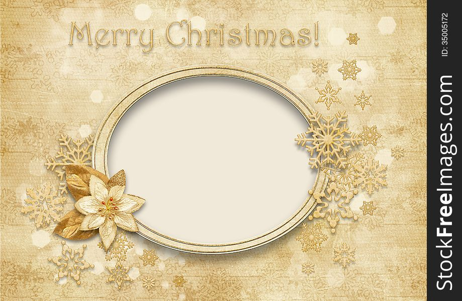 Vintage Christmas background with golden decorations