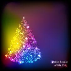 Winter Holidays Decoration Tree. Royalty Free Stock Photography