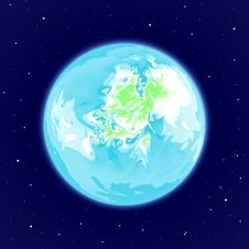 Free Abstract Earth-like Planet In Space Royalty Free Stock Images - 35013219