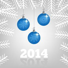 Free 2014 Background With Christmas Balls And Spruce Br Stock Photos - 35014603