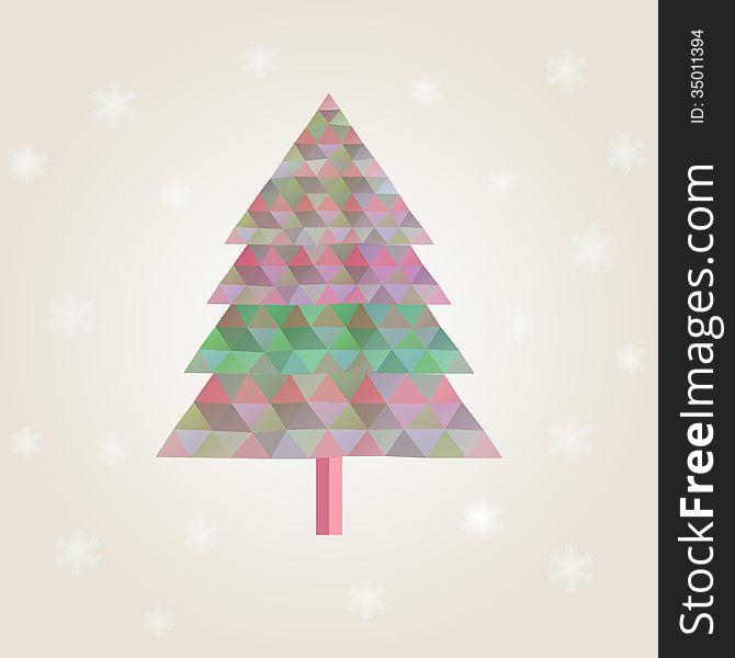 Сhristmas tree with colorful triangle diamonds