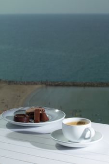 Free Morning Coffee With View To The Beach Royalty Free Stock Photo - 35026175