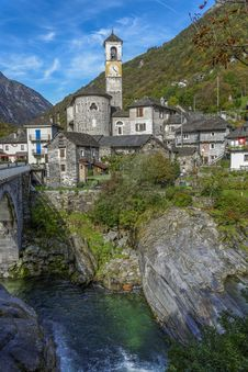 Lavertezzo Verzasca Panorama Stock Image